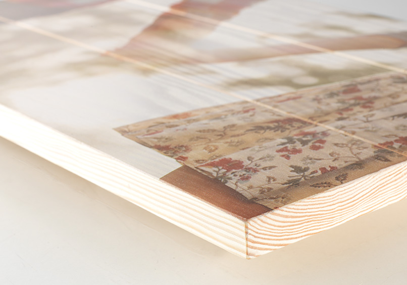 Fot auf Holz Seitenansicht Holzdicke