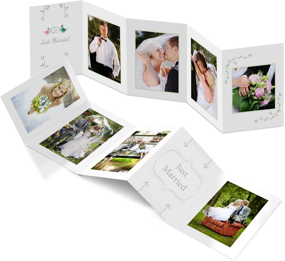 Leporello-Karten mit Hochzeitsfotos