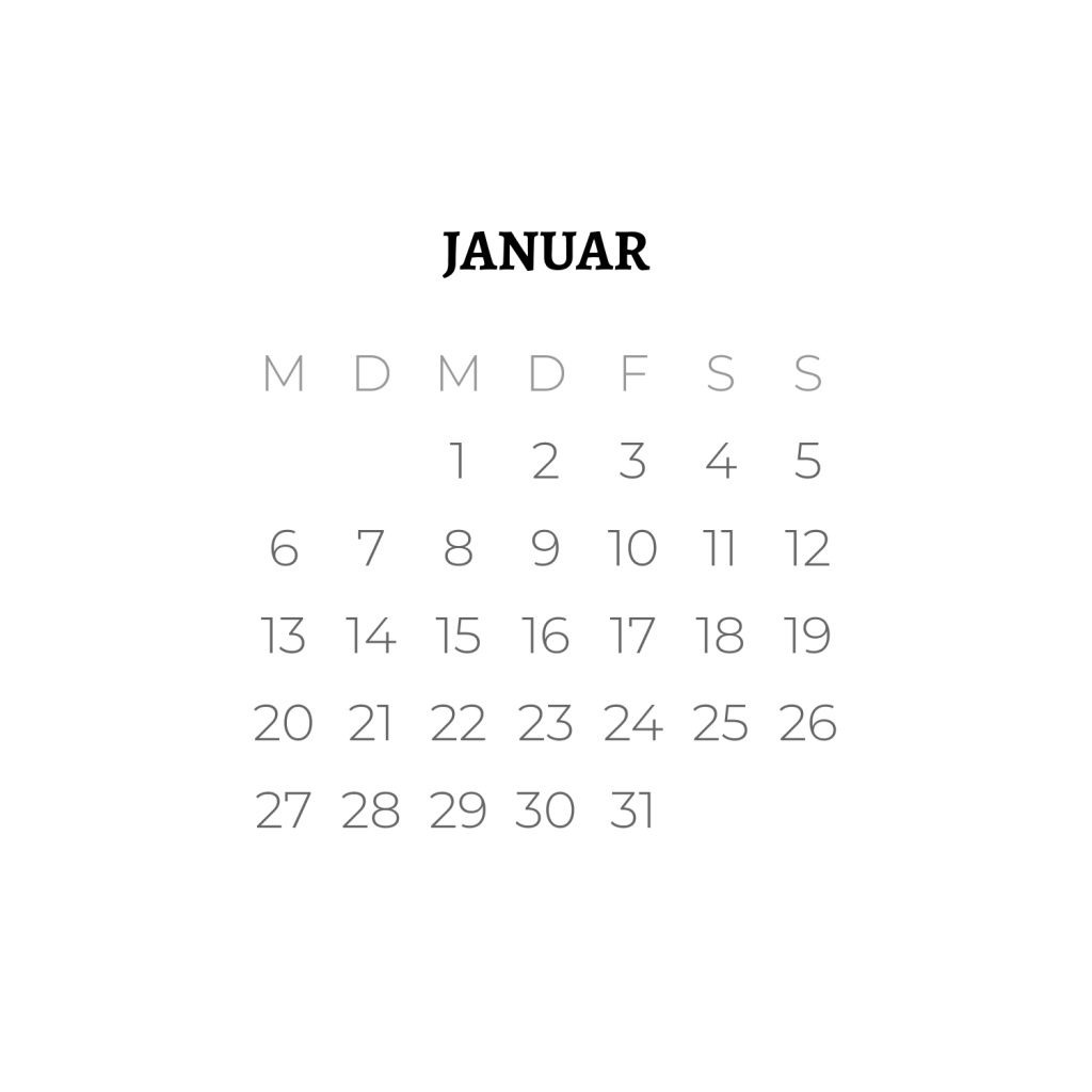 Kalenderblatt Januar 2020 Schriftart Alegreya