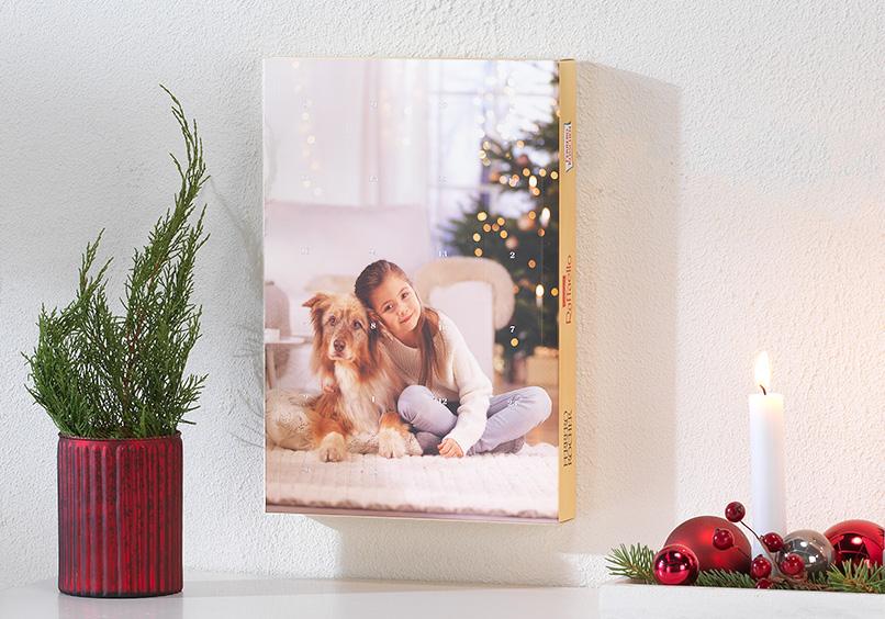 Schoko-Adventskalender mit Foto von Kind und Hund