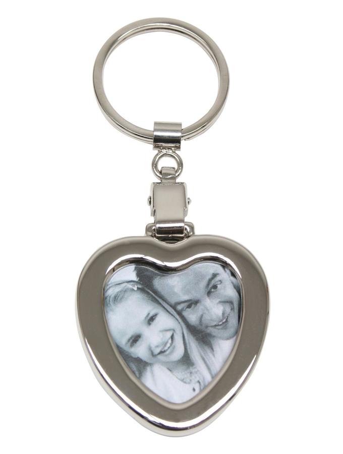 silberner, herzförmiger Schlüsselanhänger mit Foto