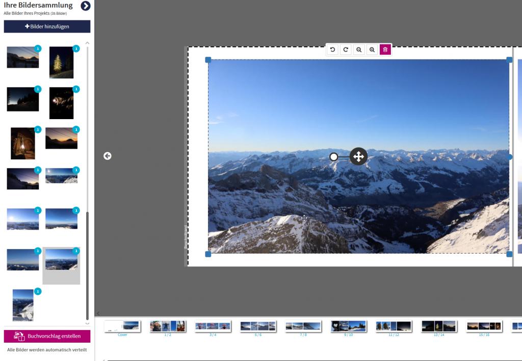 Bildersammlung Editor mit Markierung, welches Bild angewählt ist