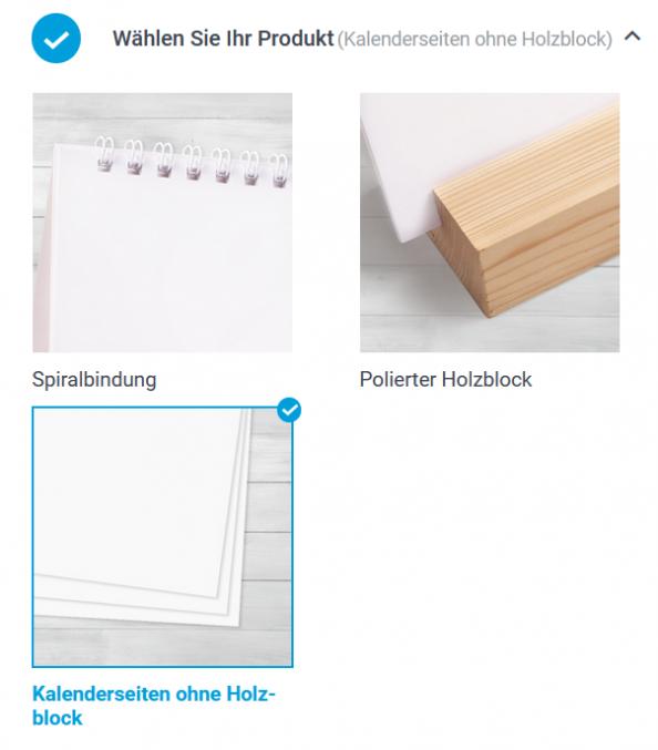 Auswahl Produkte Tischkalender